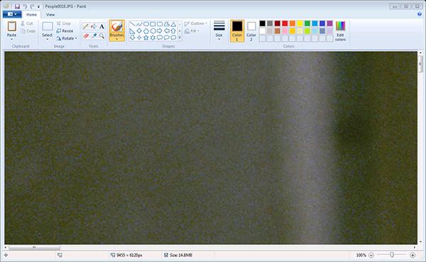 ペイントで画像を開いたところ。100%表示なので、大きい画像は全体像が見えません